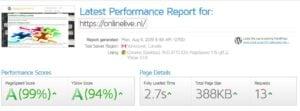 De testresultaten van Onze Website OnlineLive met GTmetrics