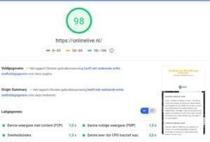 De testresultaten van Onze Website OnlineLive met PageSpeed Insight Google Mobiel