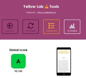 De testresultaten van Onze Website OnlineLive met Yellow Lab